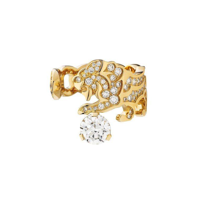 莉莉蘿絲戴普配戴的Intuitive戒指,18K黃金鑲嵌鑽石,價格店洽。圖/香奈...