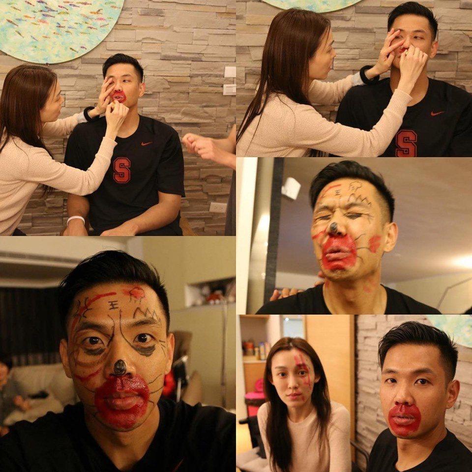 黑人和范范夫妻情深,還拿筆在彼此臉上大畫。圖/黑人臉書
