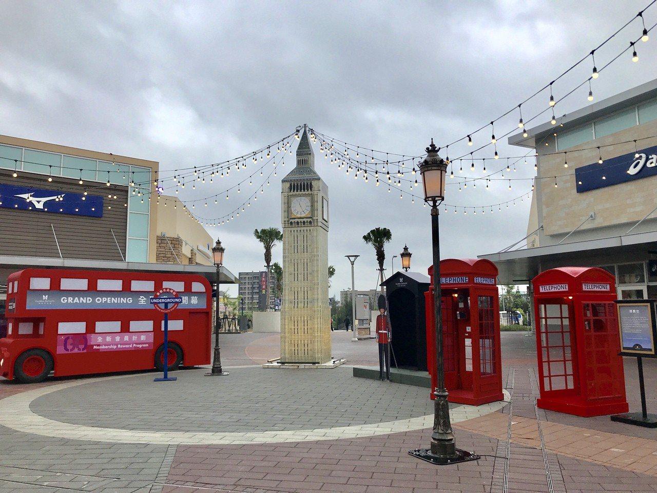 華泰名品城三期的英倫風裝置。記者江佩君/攝影