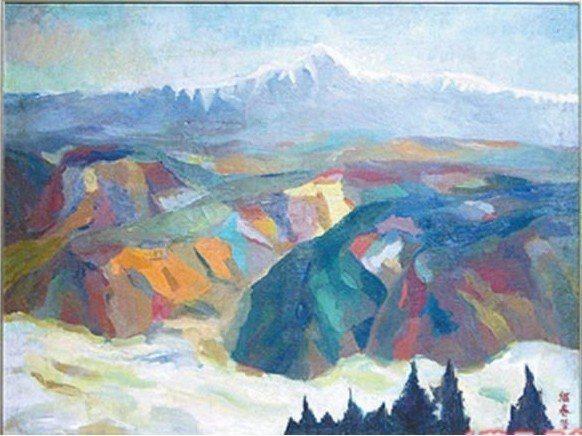 廖繼春的千萬畫作「遠眺玉山」目前放在市府倉庫。圖/取自文化局