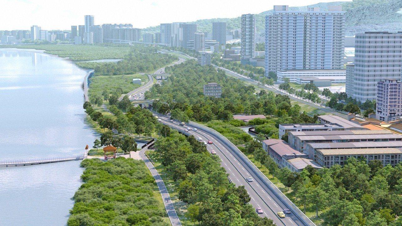 新北市府推動興建淡北道路,希望為淡水人開闢一條救命的路。模擬圖/新北市府提供