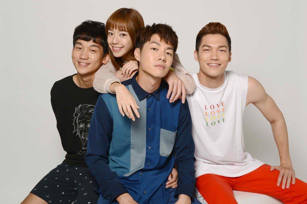 簡劭峰(左起)、陳天仁、陳信維、莊迦漢 「90後的我們」。圖/八大提供