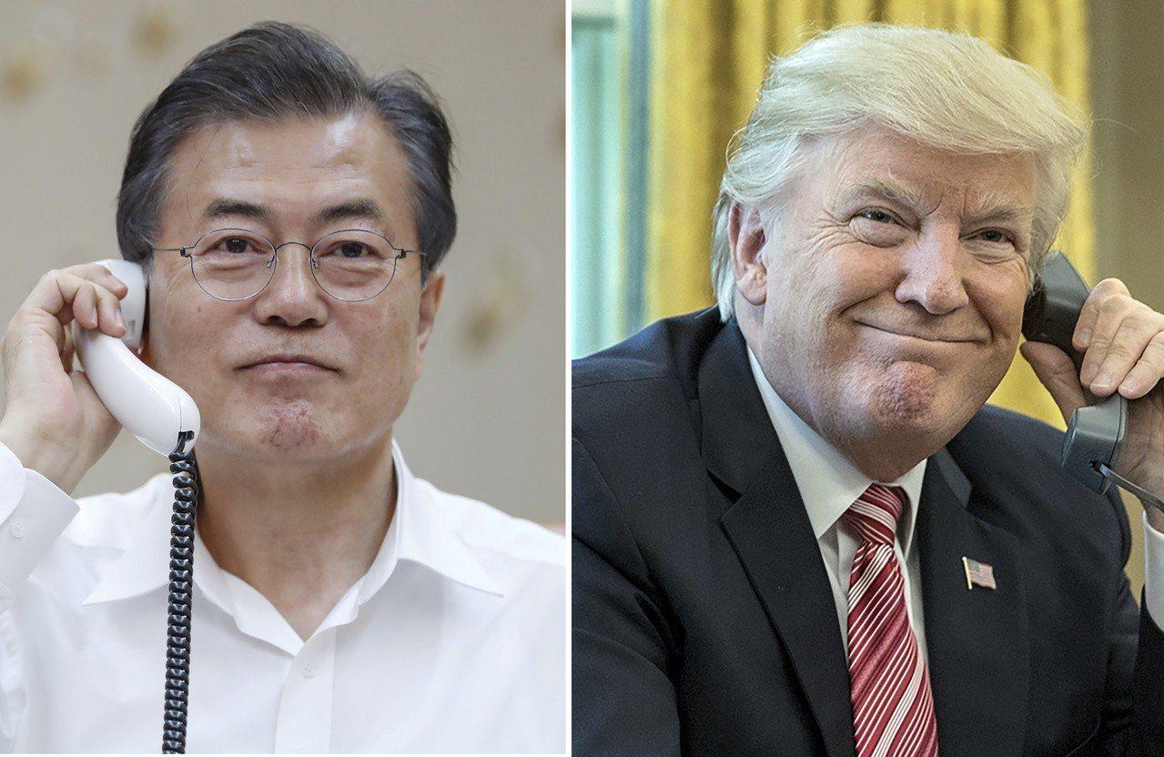 文在寅(左)和川普將商討基於密切的韓美合作實現韓半島完全非核化,構建持久和平機制...