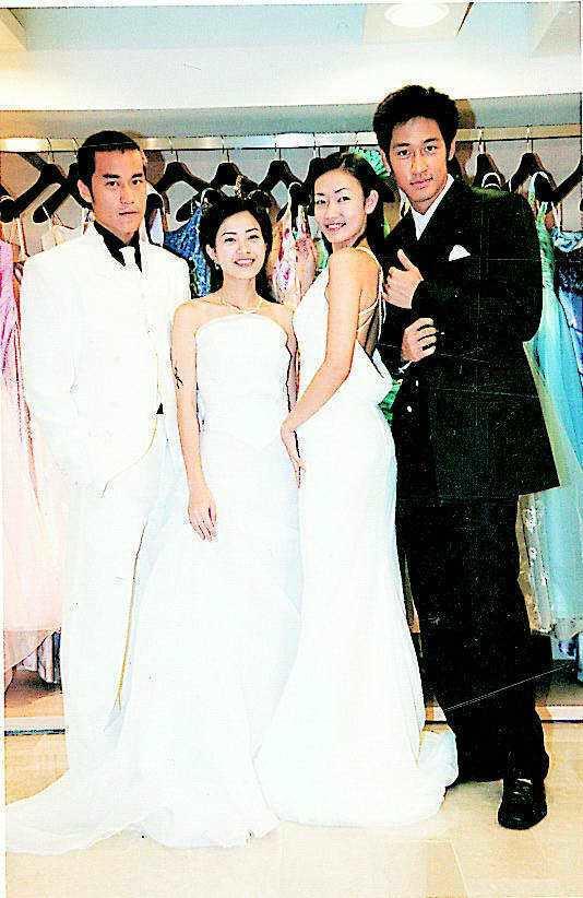 唐治平(右起)、潘慧如、徐懷鈺、張孝全四人拍婚紗照,心情像辦家家酒。圖/報系資料...