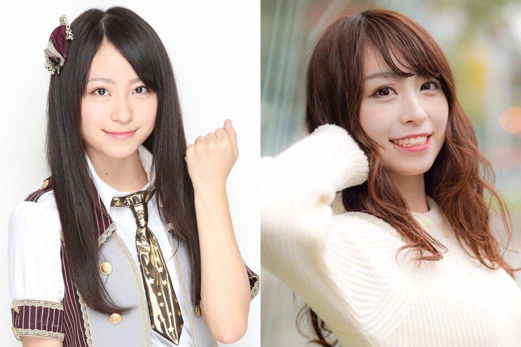 左:中村優花SKE48時期的樣子,右:中村優花參賽照。 圖片來源/香港01資料照...