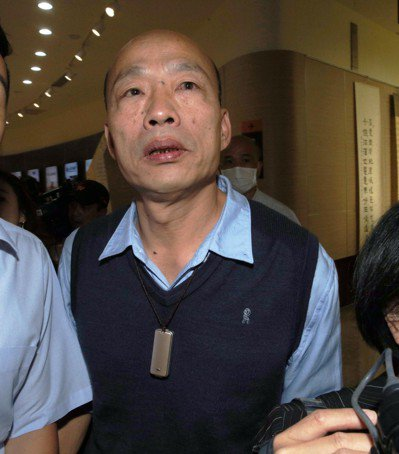 高雄市長韓國瑜認為民進黨議員對他的質詢,就是要讓國民黨籍市長的他漏氣。記者劉學聖...