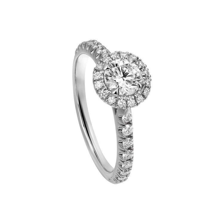 卡地亞Cartier Destinée明亮式切割單鑽戒指,鉑金鑲嵌明亮式切割主...