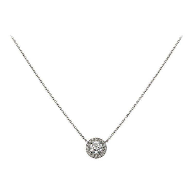 卡地亞Cartier Destinée明亮式切割單鑽項鍊,白K金鑲嵌明亮式切割...