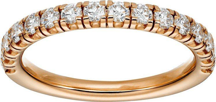 卡地亞Etincelle de Cartier鑽石戒指,玫瑰金鋪鑲圓形明亮式切割...