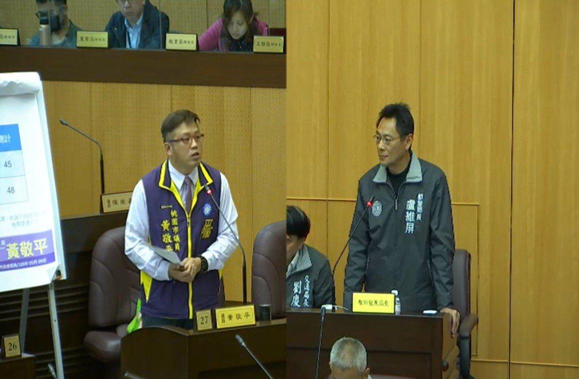 桃園市議員黃敬平(左)在議會總質詢呼籲都發局研議成立「社會住宅服務中心」,專責處...