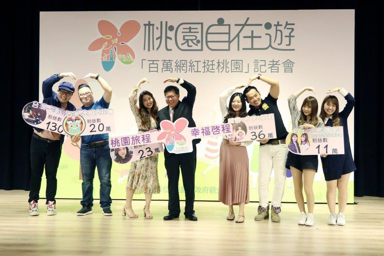 為推廣海外市場,桃園市府觀光旅遊局今日號召來自亞洲五個地區,累積擁有百萬粉絲的7...