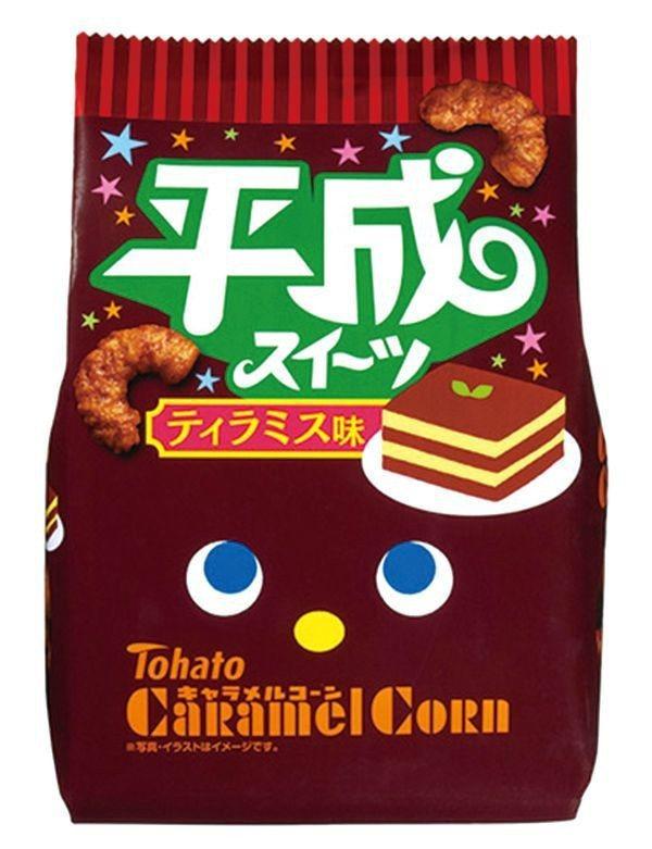 東鳩平成提拉米蘇味玉米脆果(77g)原價59元、特價49元。圖╱愛買提供