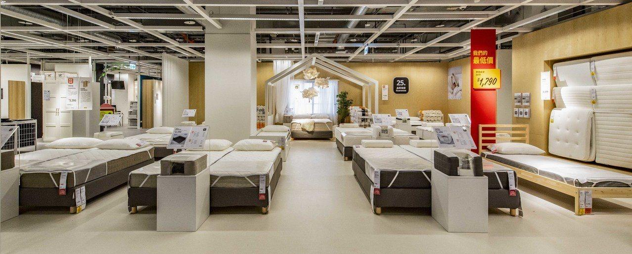IKEA新店店的床墊試睡區。圖/IKEA提供
