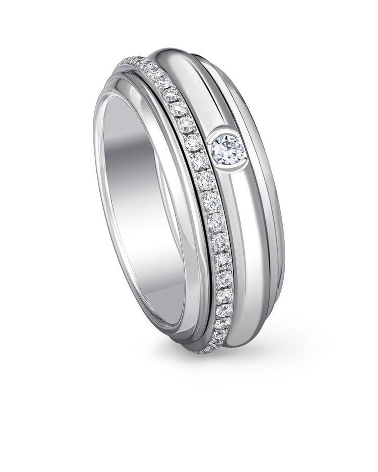 Possession 系列指環,18K白金鑲嵌46顆圓形鑽石共約0.45克拉,1...