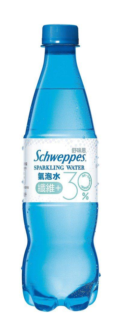 熱銷款「Schweppes舒味思」氣泡水纖維+,每瓶售價35元。 圖/可口可樂提...