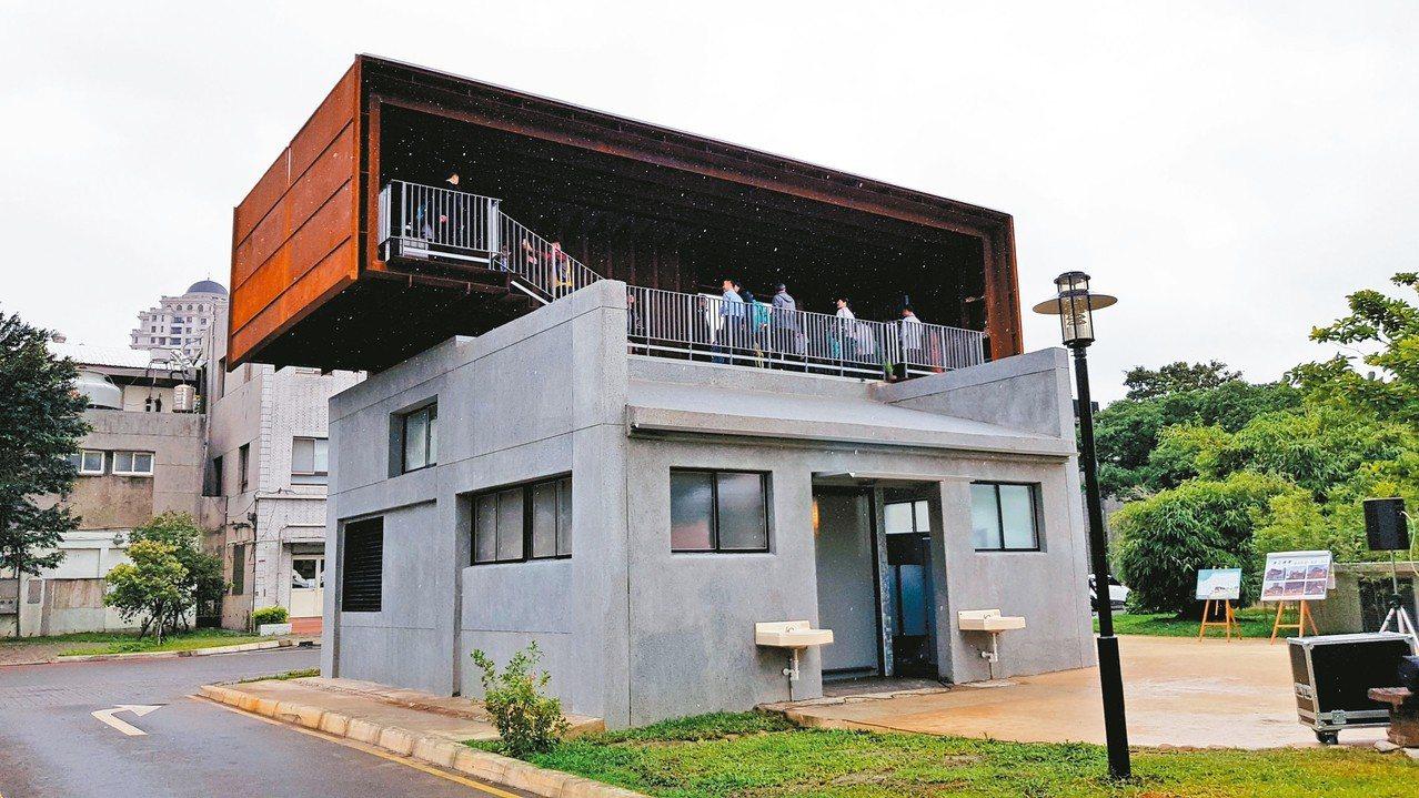 新竹市府後街地下停車場出入口改造「幸福盒子」與「微笑盒子」,2樓為瞭望觀景平台。...