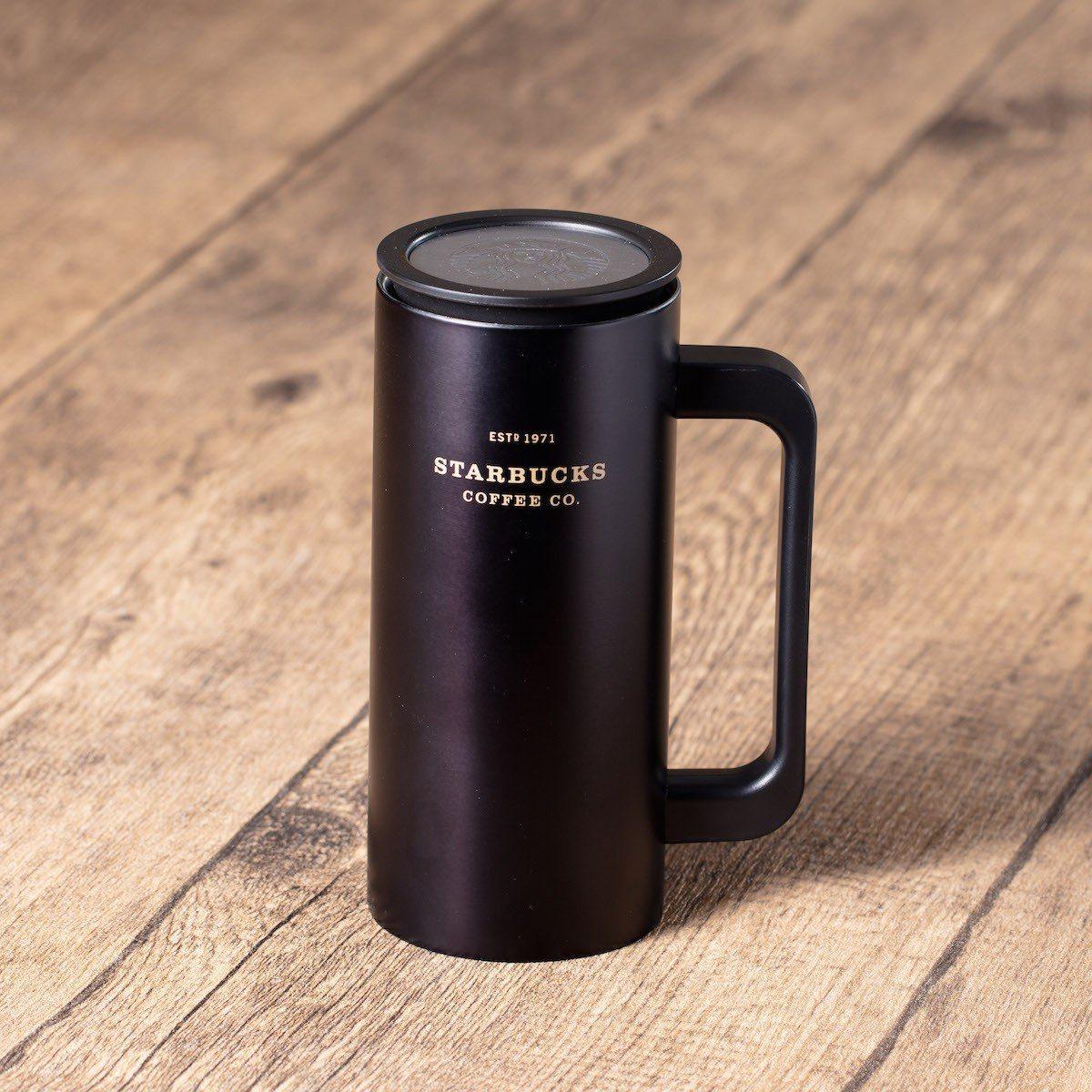 圖/12oz 啞黑色不鏽鋼帶柄隨行杯。擷取自星巴克官網。