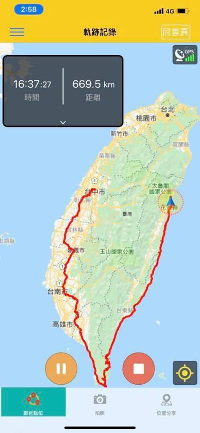 原PO利用APP紀錄環島路線,打算將台灣圈起來。 圖/擷取自「爆廢公社二館」