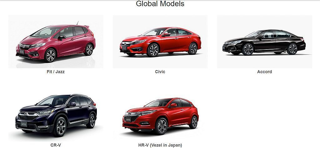 Honda汽車目前有Civic、Accord,Fit、CR-V、HR-V等5款全...