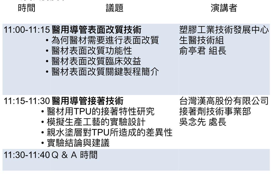 醫用導管表面改質暨接著技術線上直播研討會的活動議程。 台灣漢高/提供