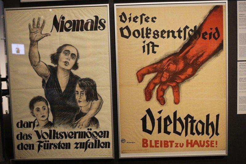 德國歷史博物館展出的威瑪共和時期海報,攝於2019年4月,柏林。 圖/美聯社