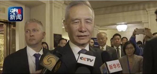 中國副總理、中美全面經濟對話中方牽頭人劉鶴,和美國貿易代表賴海哲與美國財政部長米...