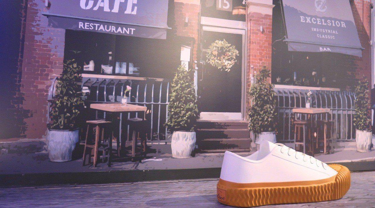 新光三越台南小西門B1F連通道推出「餅乾鞋OOTD咖啡廳」。圖/新光三越提供