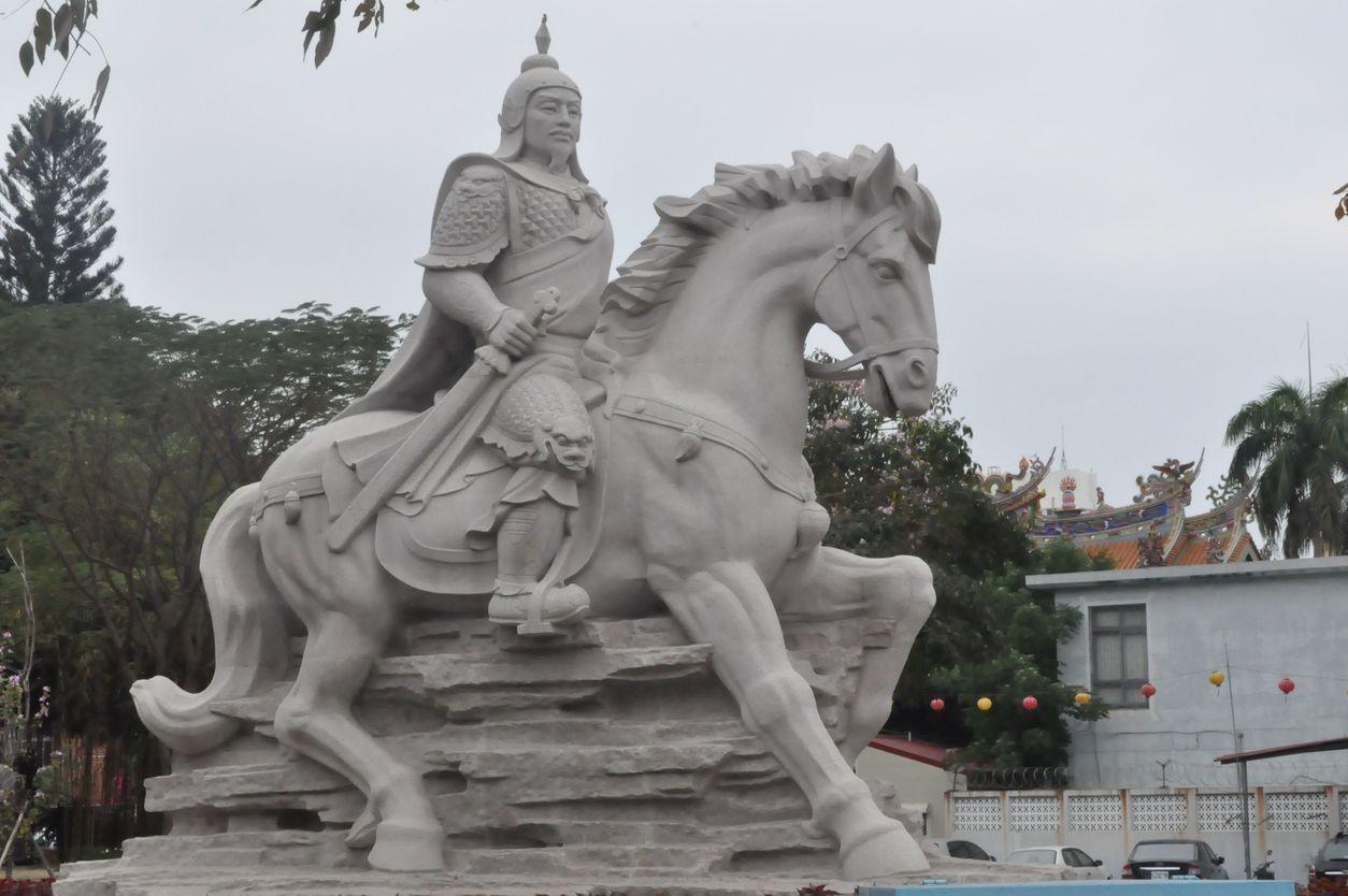 台南延平郡王祠內的鄭成功騎馬石像。 圖/聯合報系資料照片