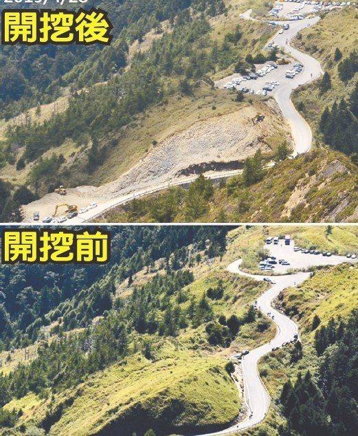 太魯閣國家公園內台14甲路線開挖情形的對比照片曝光後,引起討論。 圖/台灣生態學會提供