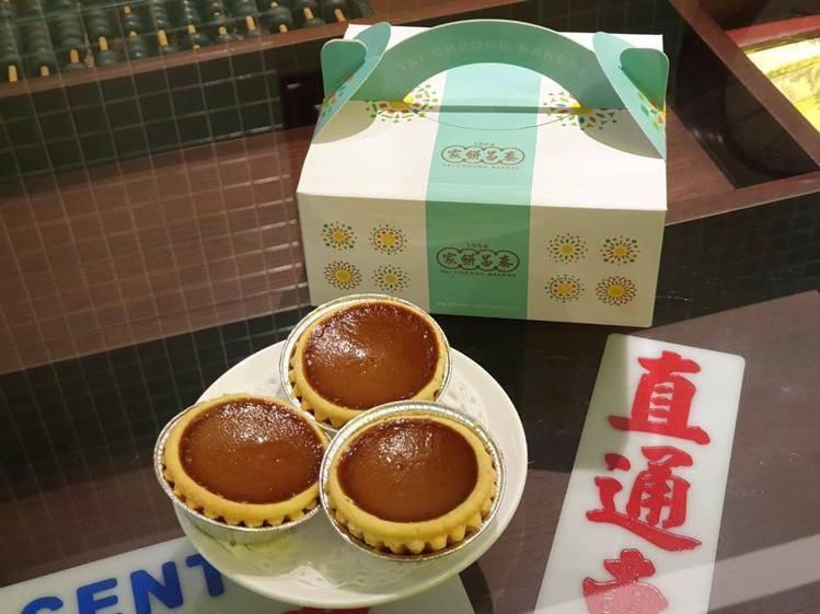 泰昌餅家台灣限定的「奶茶蛋撻」,出爐後平均約1小時內就銷售一空。圖/環球購物中心...