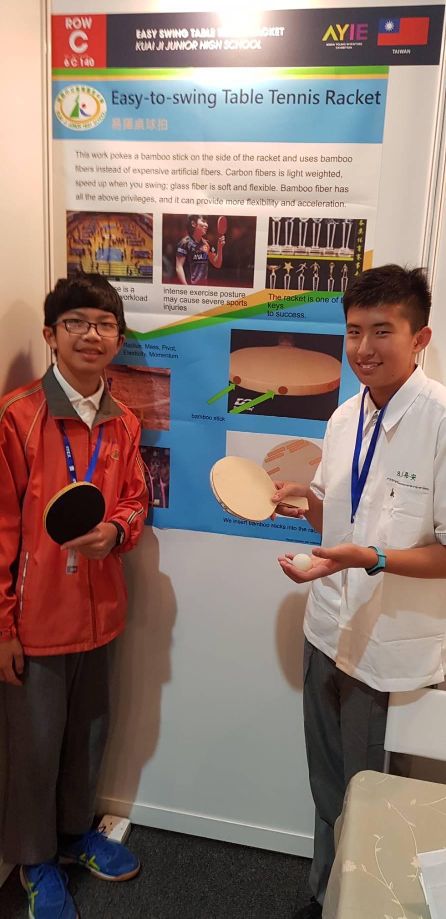 為鼓勵學生啟發創意,桃園市會稽國中師生今年參加2019馬來西亞國際發明展,推出4...