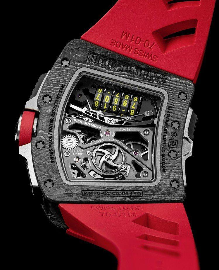 5軸距離記錄器是RM 70-01 Alain Prost陀飛輪腕表最大特色之一,...