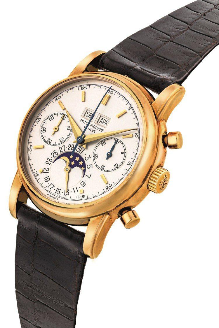 百達翡麗型號 2499腕表,18k金表殼具萬年曆、計時功能及月相功能,1983年...