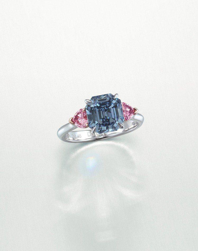 3.01克拉鮮彩藍色/VS1 鑽石戒指,估價約1.5億元。圖/佳士得提供