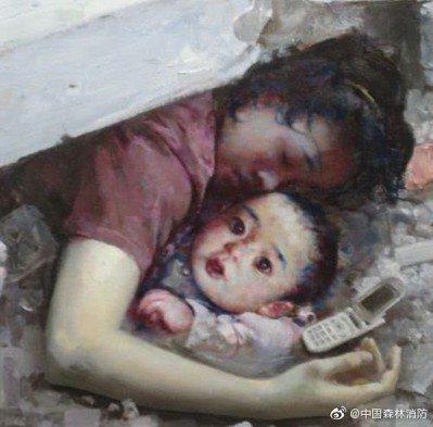 當年的救災示意圖顯示,一名罹難的母親身下保護著一名倖存嬰兒,並用手機留下遺言。 ...