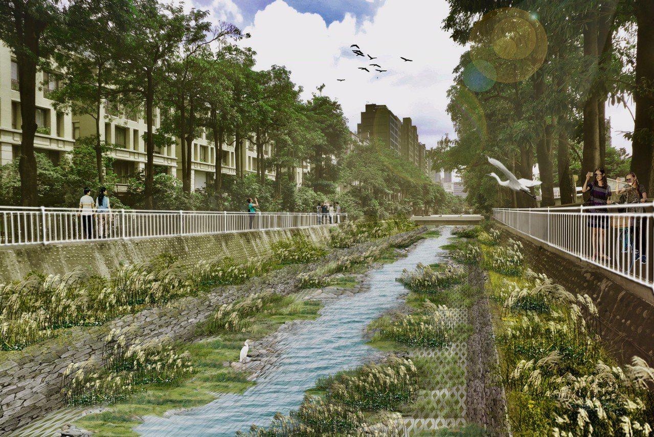 台中市政府今天說明,這是台中市惠來溪水改善後情形。圖/台中市政府提供
