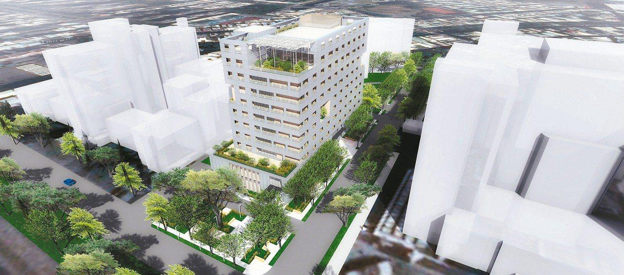 高雄首座高齡長照大樓外觀模擬圖。 圖/高雄市新工處提供