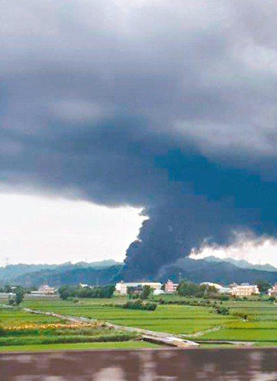 日前台中后里廢輪胎工廠大火,濃煙疑造成農地汙染。 圖/蔡姓讀者提供