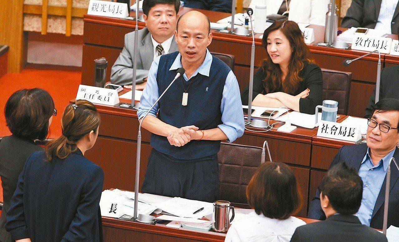 高雄市長韓國瑜(中)表示,不認同民進黨市議員針鋒相對的質詢方式。 圖/聯合報系資...