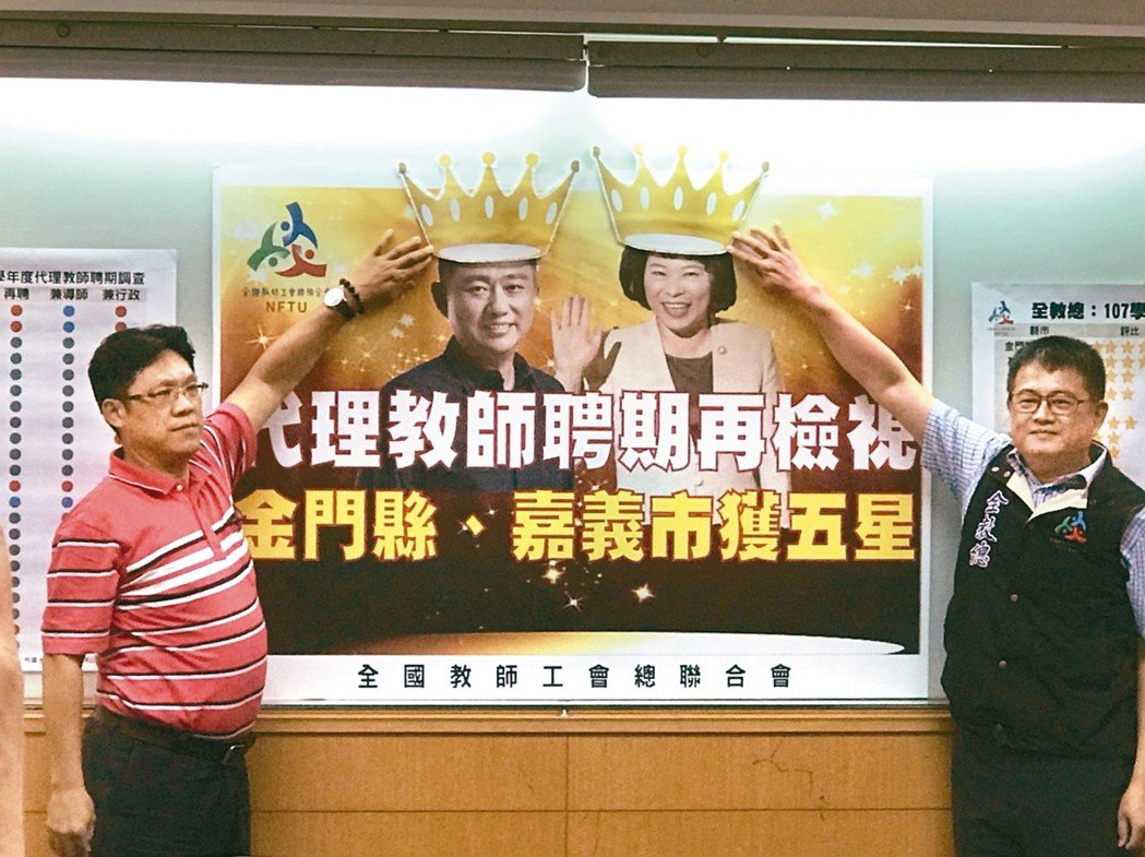 代理教師聘期長期被忽略,全教總今天公布縣市長善待代理教師評比結果。 記者馮靖惠/...