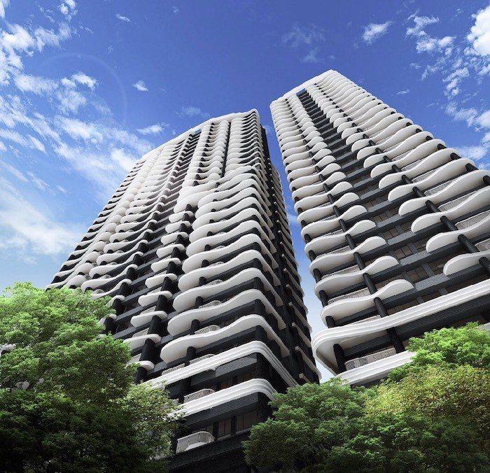 「碧波白」採全棟SRC制震鋼骨,是北新路唯一鋼骨景觀建築大樓。 圖/碧波白 提供