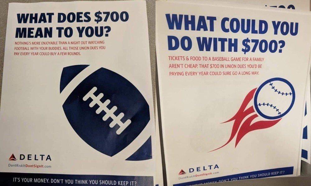 達美航空反工會網站推出各種宣傳鼓吹員工把繳工會年費的錢拿去做其他用途。