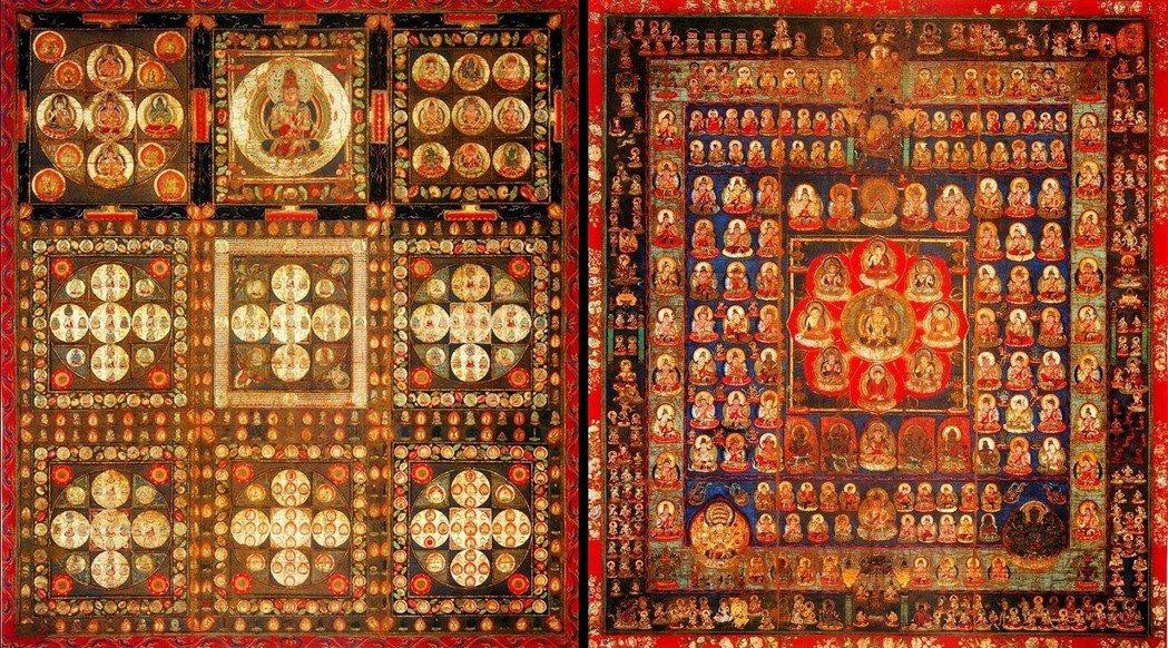 密教世界觀:曼荼羅(Mandala)。圖為現藏於高野山金剛峯寺的「絹本著色両界曼...
