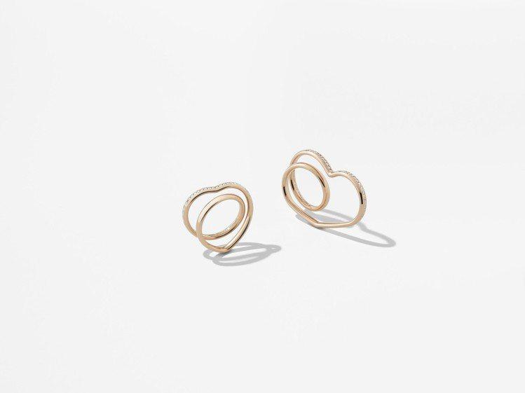 (由左至右)愛馬仕Vertige cœur系列玫瑰金鑲鑽單指戒指,16萬5,00...