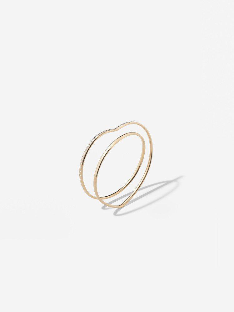 愛馬仕Vertige cœur系列玫瑰金鑲鑽手環,62萬2,300元。圖/愛馬仕...