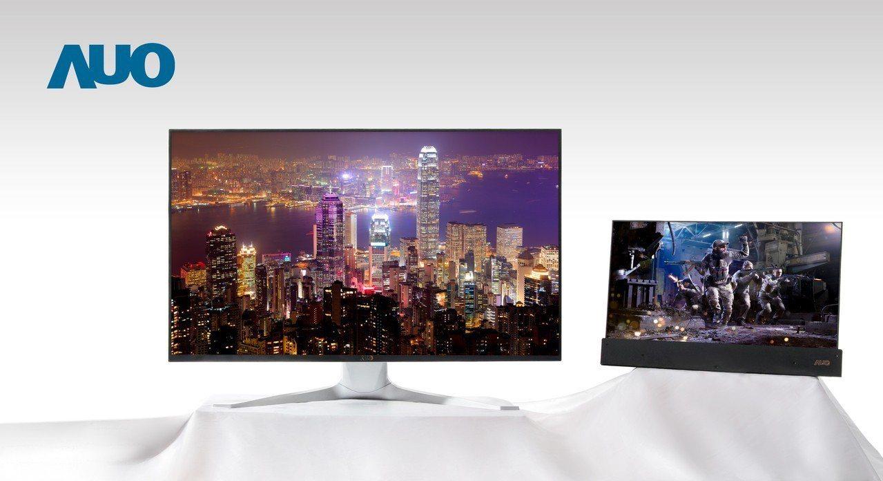 友達系列Mini LED背光顯示面板涵蓋電競、VR、專業應用等領域。 圖/友達提...