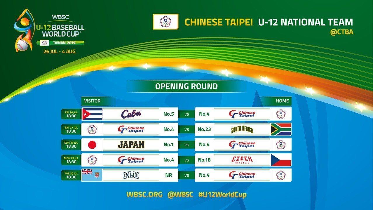 2019年U12世界盃棒球錦標賽中華隊賽程。圖/中華棒協提供