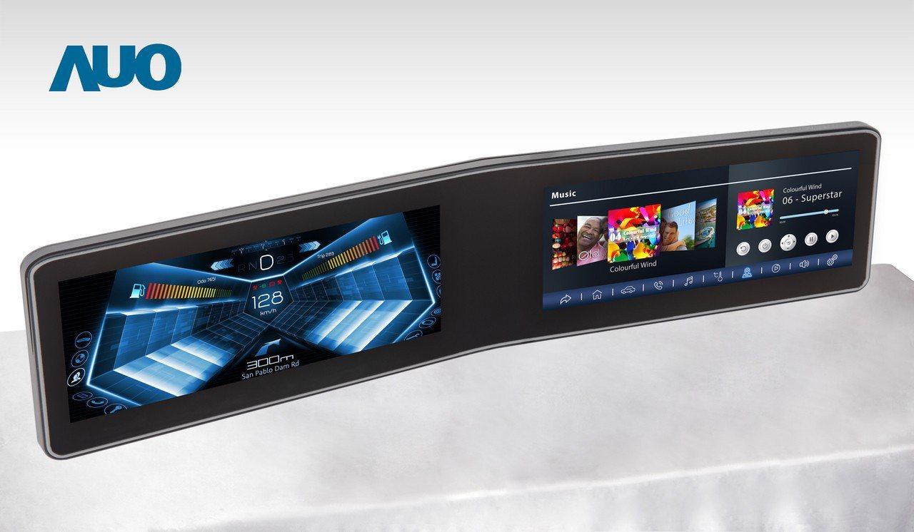 友達V型曲面駕駛艙顯示器,採全貼合拼接儀錶板及中控台面板。友達/提供