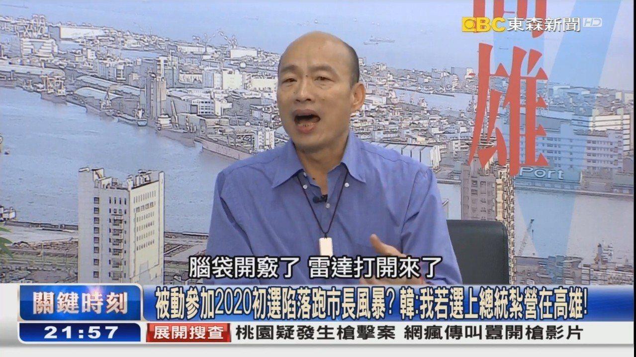 韓國瑜今天接受東森新聞專訪。圖/翻攝自東森新聞