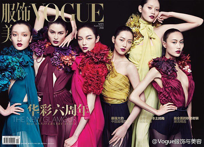 奚夢瑤(右上)與劉雯、秦舒培、杜鵑等人一起拍攝Vogue封面。圖/摘自微博